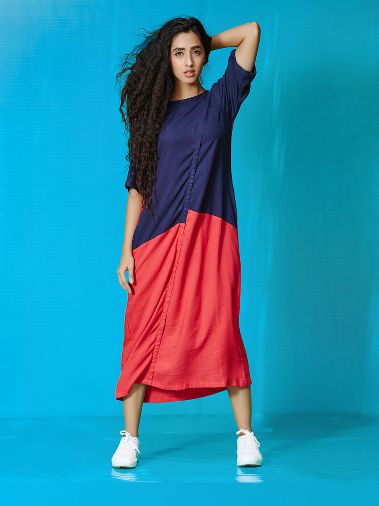Red Navy Rayon Cotton Dress