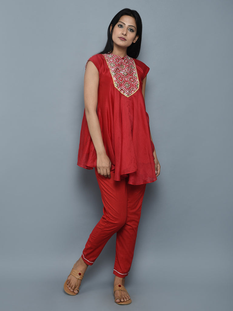 Red Off White Block Printed Chanderi Flared Top
