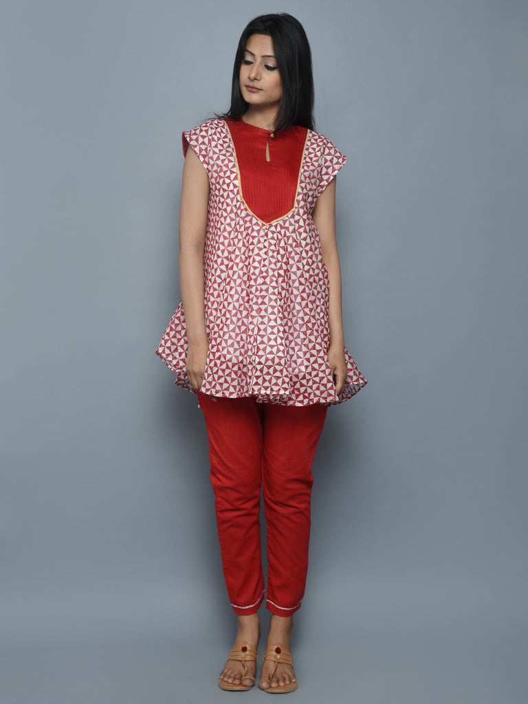 Red Off White Block Printed Chanderi Top
