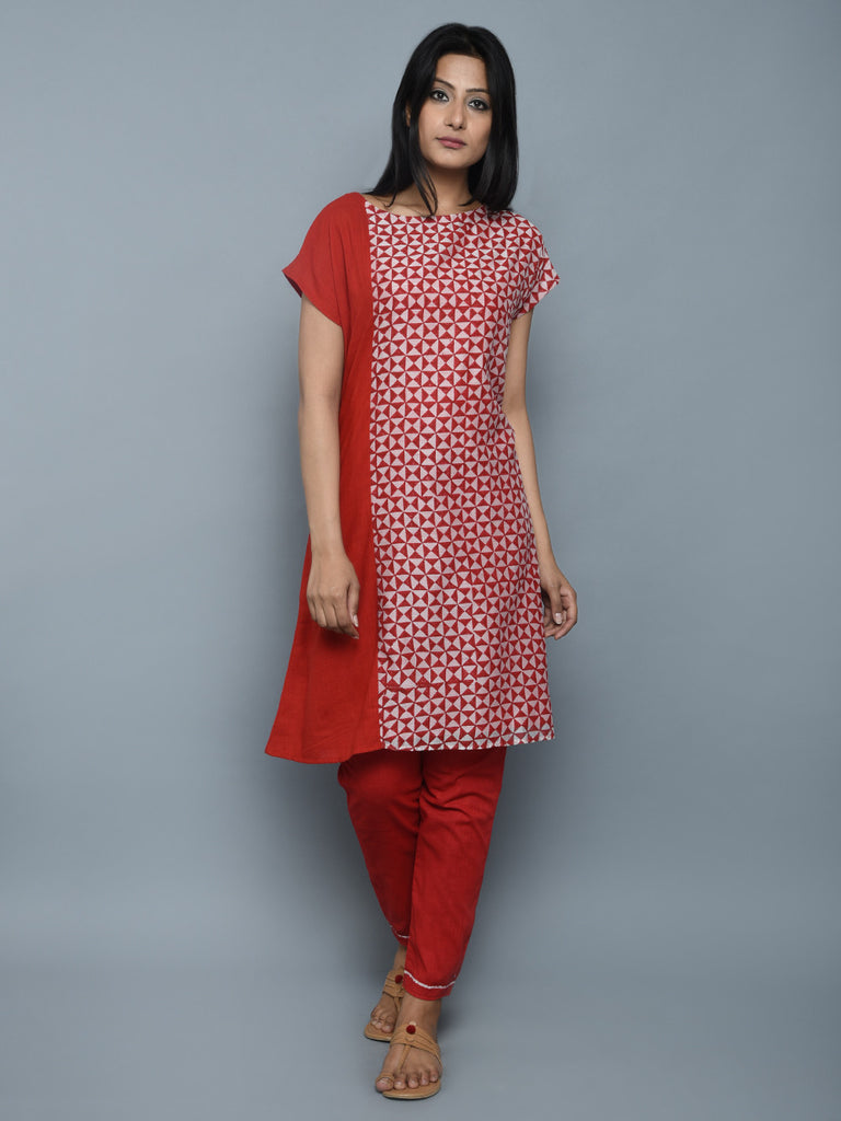 Red Off White Chanderi Cotton Kurta
