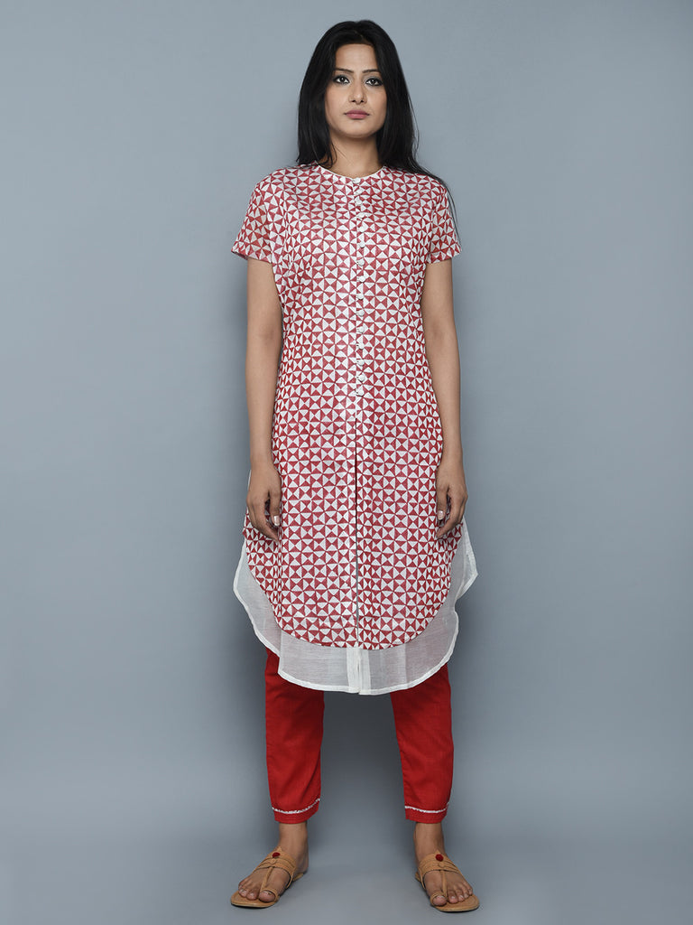 Red Off White Chanderi Double Layered Kurta