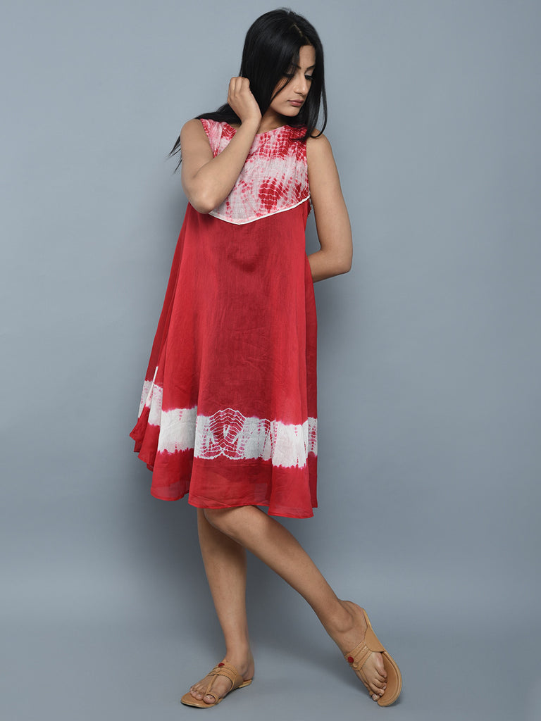 Red Off White Chanderi Shibori Dress