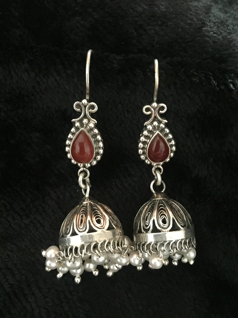 Red Onyx Pearl Silver Jhumkies