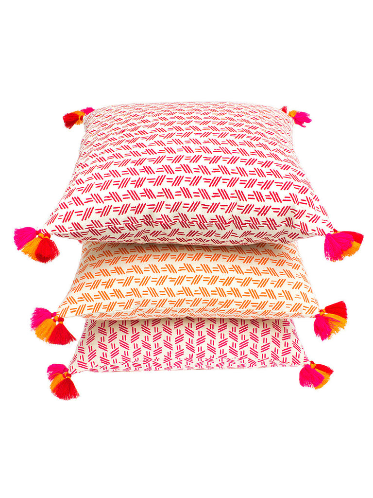 Red Orange Pink Cotton Flamingo Miro Cushion Covers- Set of 3