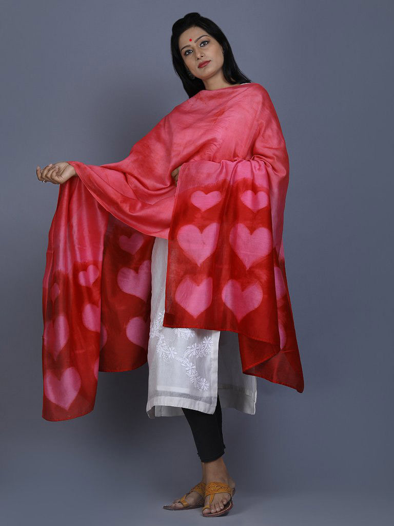 Red Pink Clamp Dyed Chanderi Silk Heart Dupatta