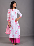 Red-Pink Shaded cOTTONFloral Hand Blocl Printed Suit - Set of 3