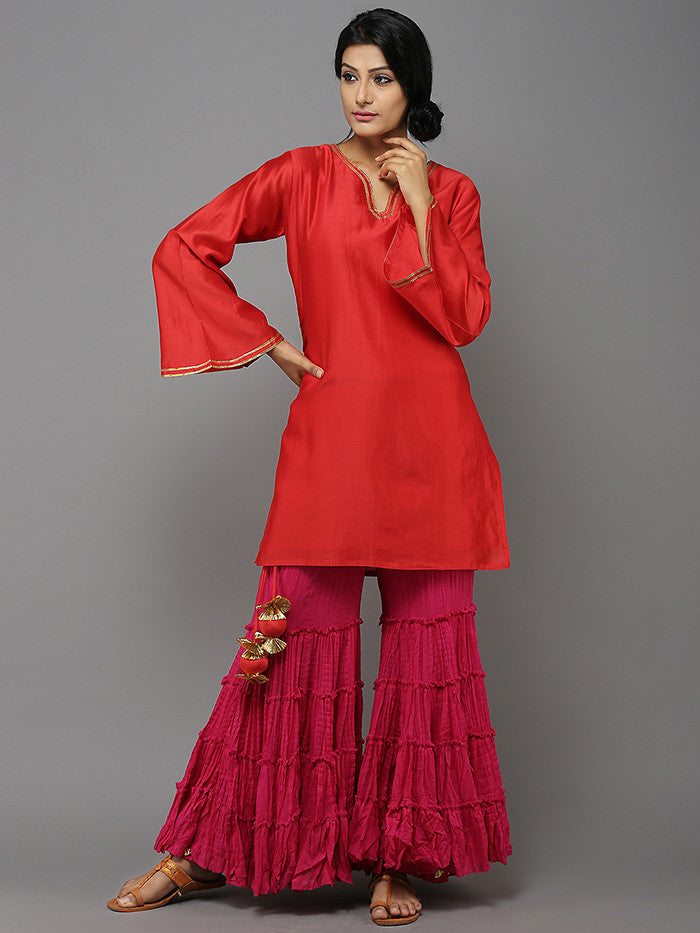 Pink Cotton Sharara with Gota Border