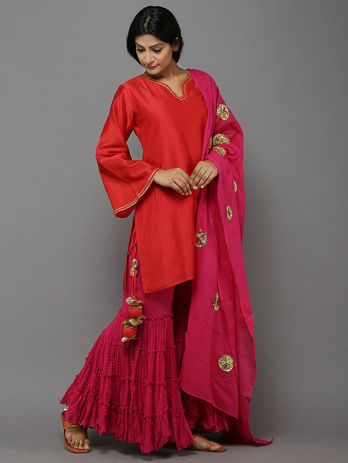 Magenta Sharara Set with Dupatta - 3 Piece