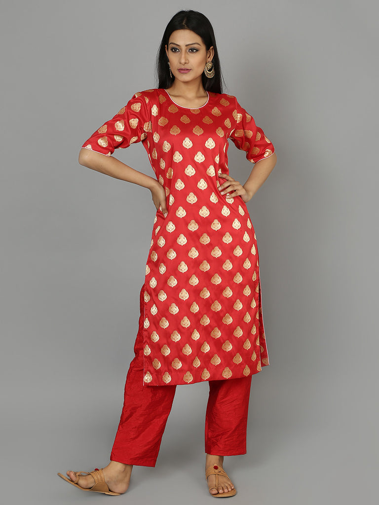 Red Silk Kurta with Pants - Set of 2