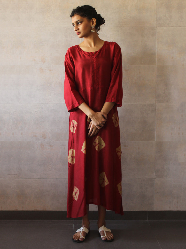 Red Cotton Silk Yoke Bandhej Dress