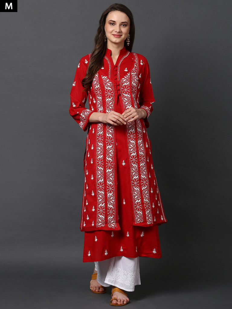 Red Twin Set Chikankari Kurta