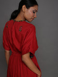 Red Vintage Embroidered Cotton Kaftan Dress