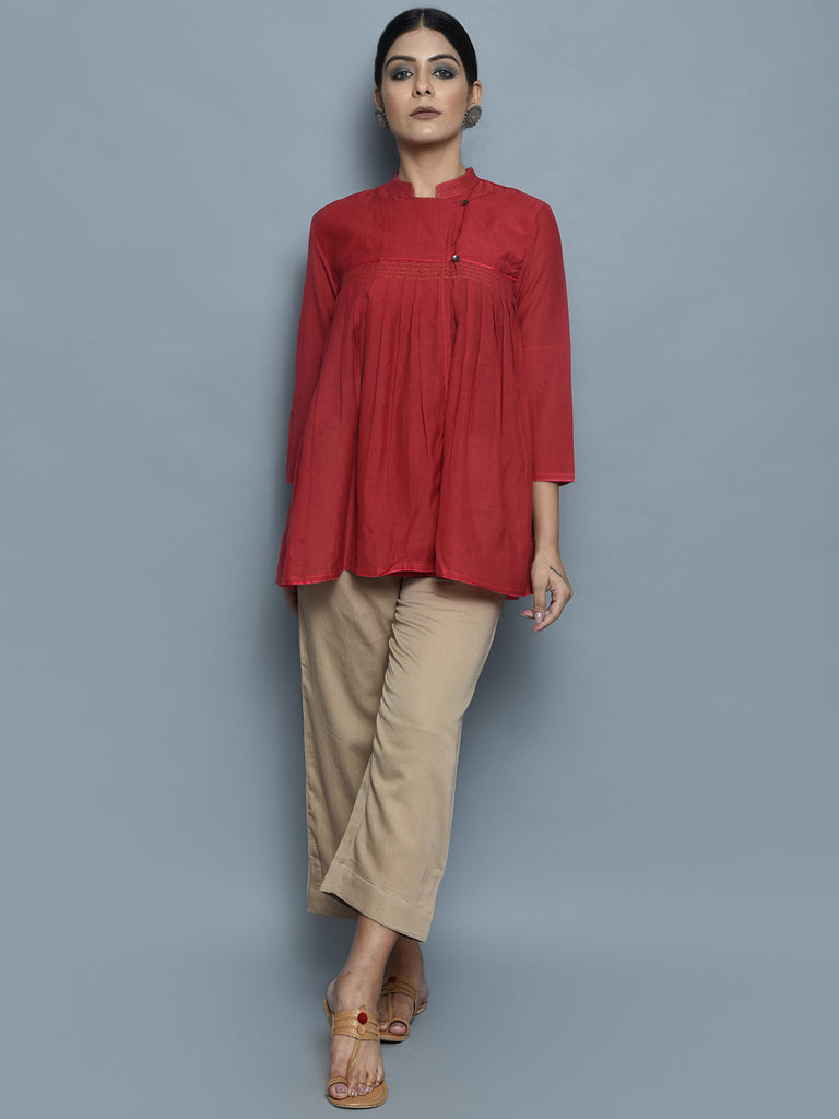 Red Viscose Modal Pleated Top