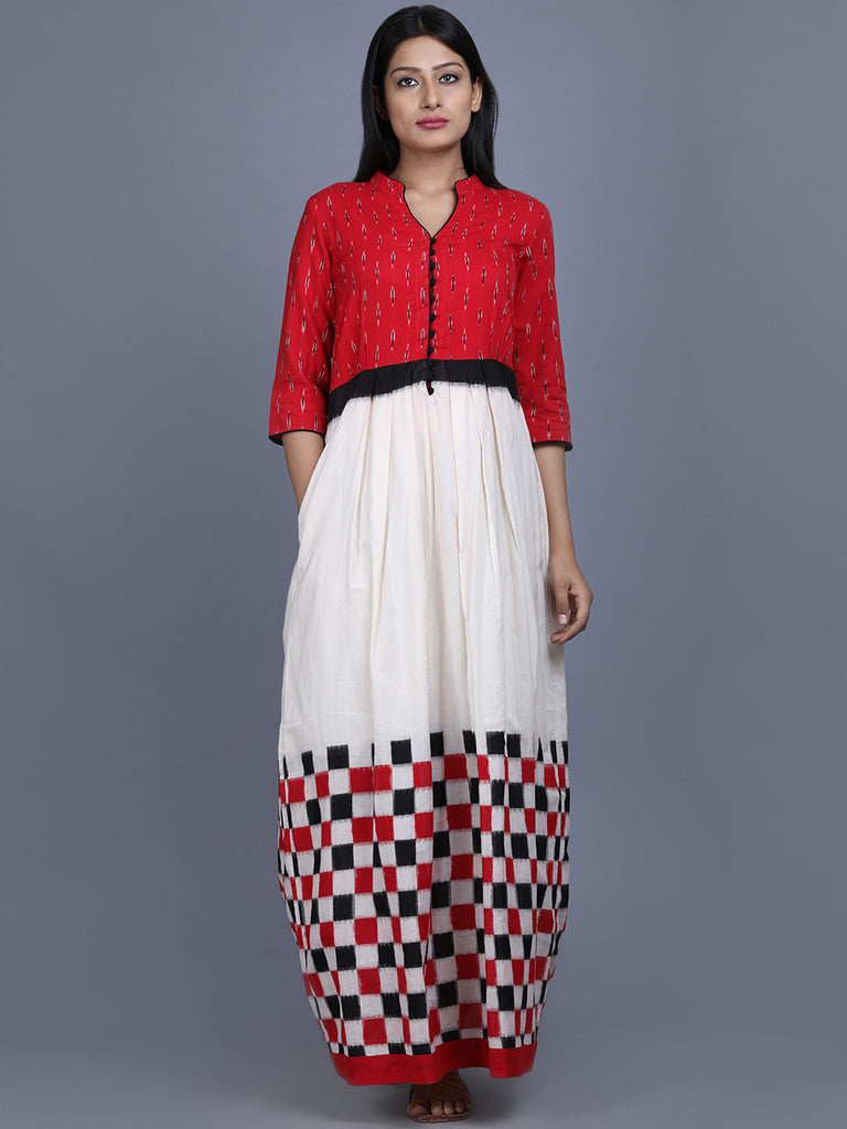 Red White Black Ikat Cotton Check Dress
