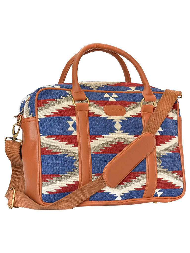 Red Blue Tan Leather American Work Bag