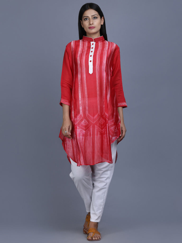 Red White Chanderi Silk Shibori Dye Tunic