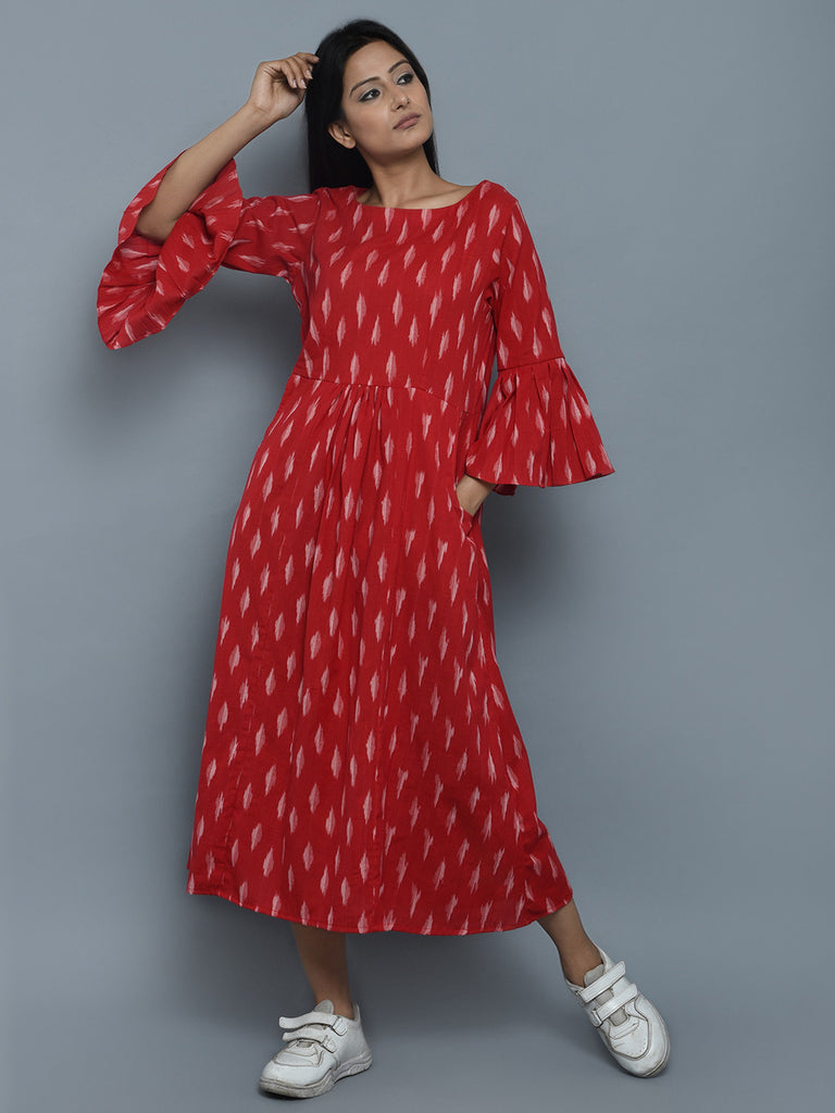 Red White Cotton Ikat Frock Dress