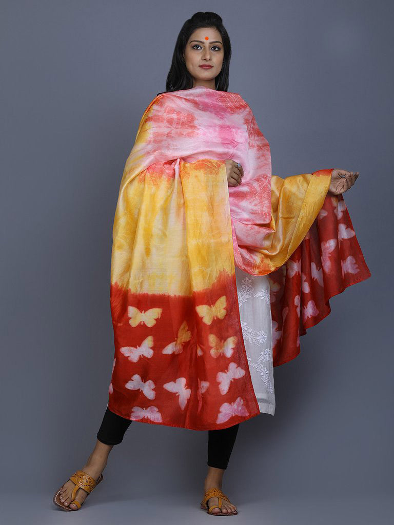 Yellow Pink Red Clamp Dyed Chanderi Silk Butterfly Dupatta