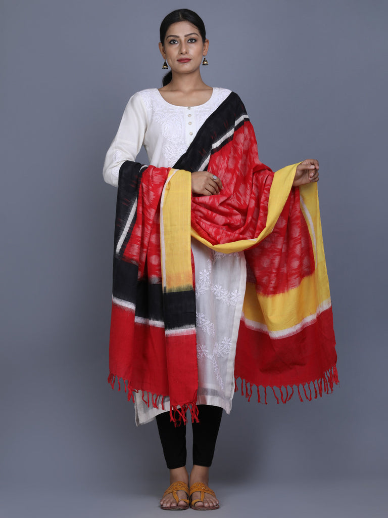 Red Yellow Black Cotton Ikat Dupatta