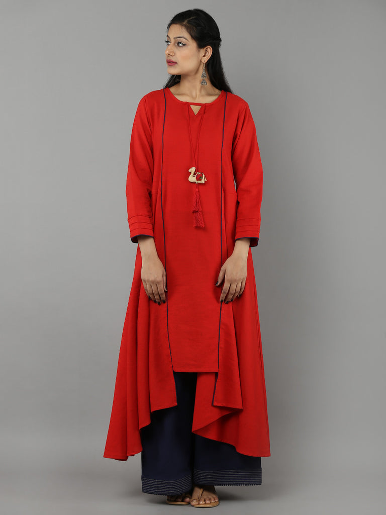 Red 'Camel' Tassel Khadi Kurta with Navy Palazzo - Set of 2