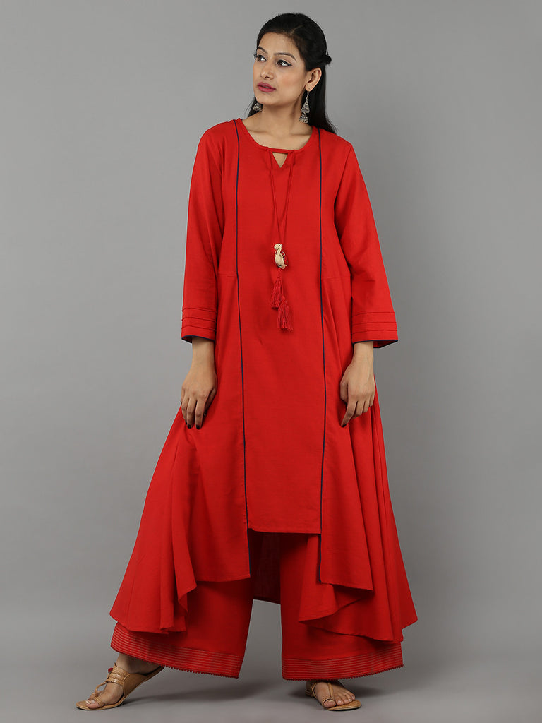 Red 'Camel' Tassel Khadi Kurta with Palazzo - Set of 2