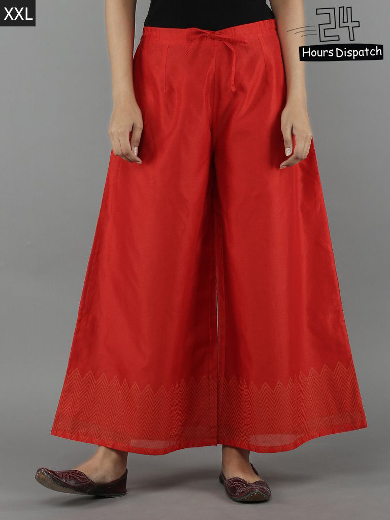 Red Chanderi Palazzo with Cotton Lining