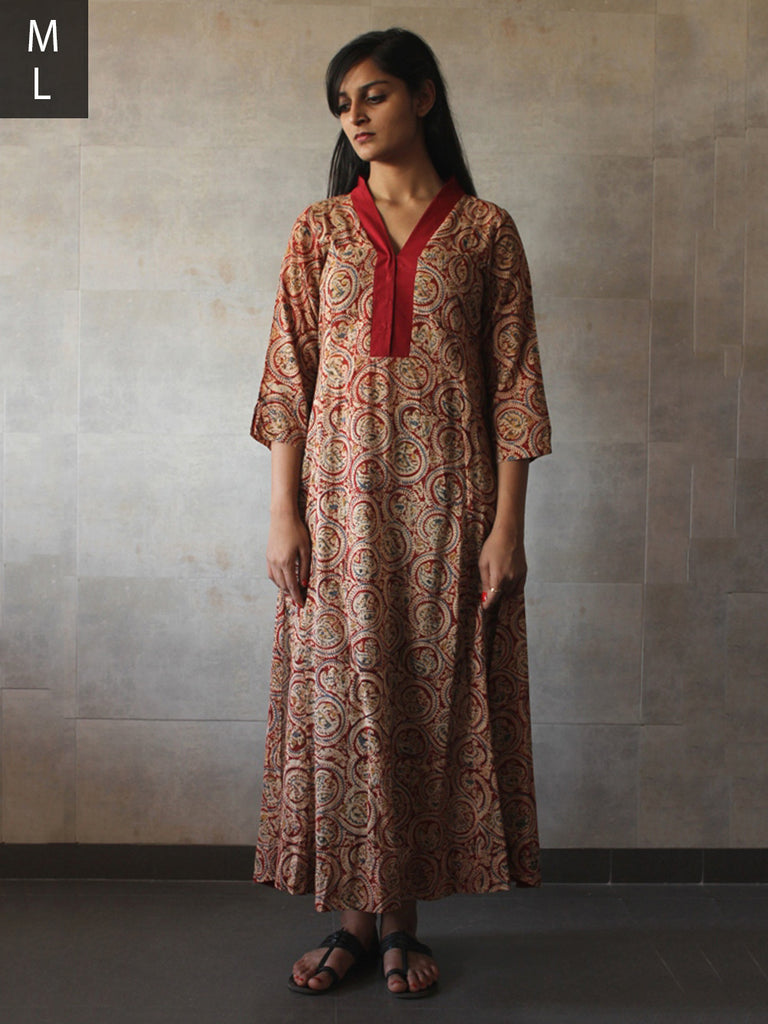 Red Cotton Mul Kalamkari Tunic