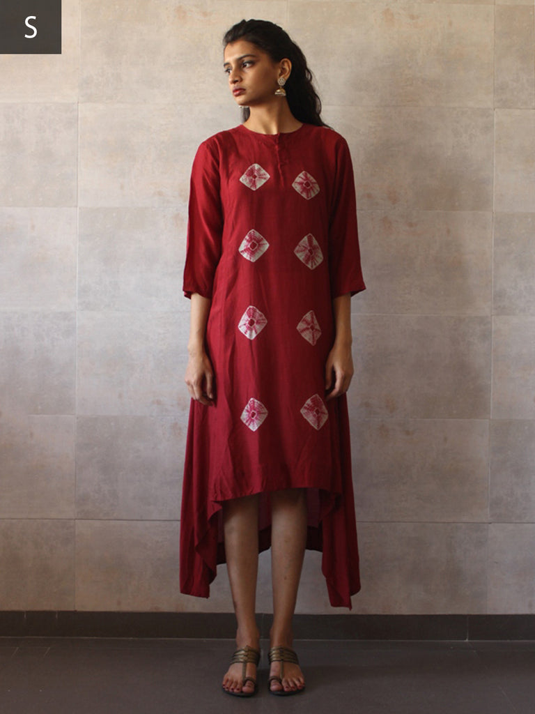 Red Cotton Silk Bandhej Assymetrical Tunic
