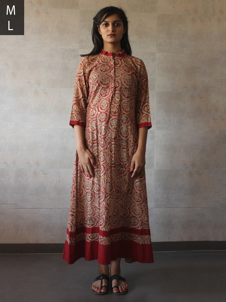 Red Kalamkari Hand Block Printed Cotton Mul Dress