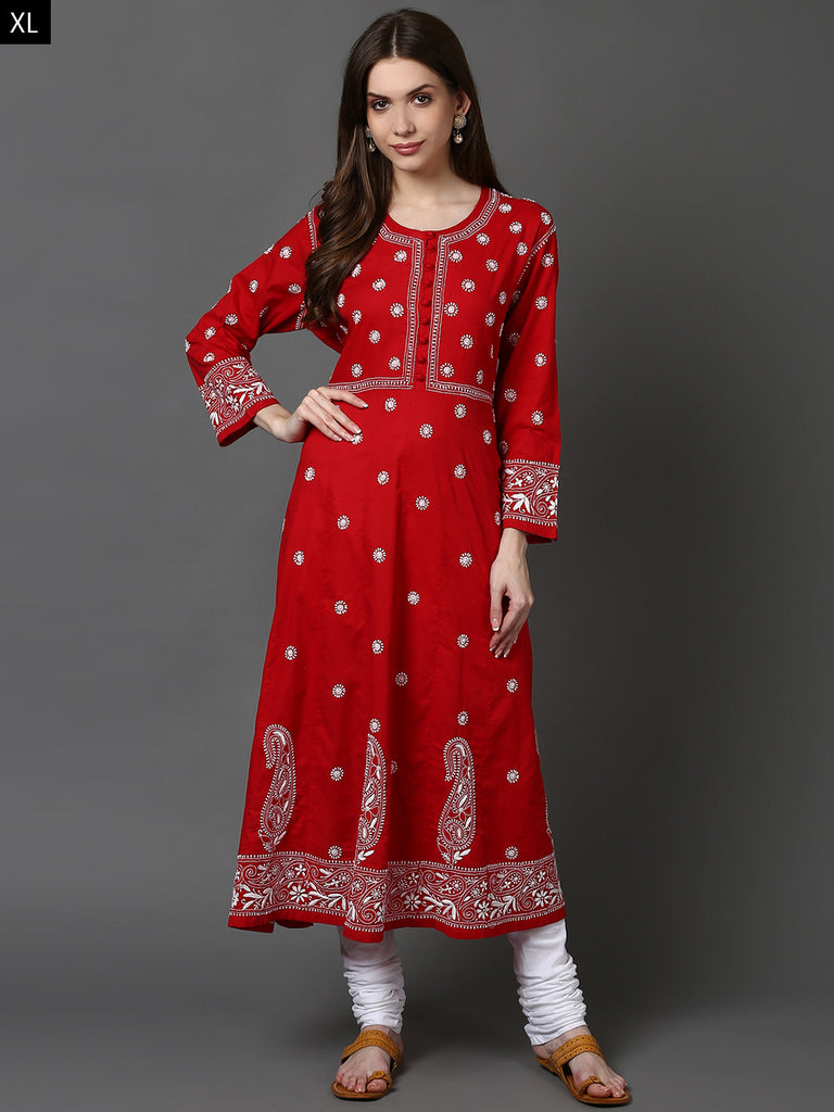Red Lucknowi Hand Embroidered Cotton Anarkali