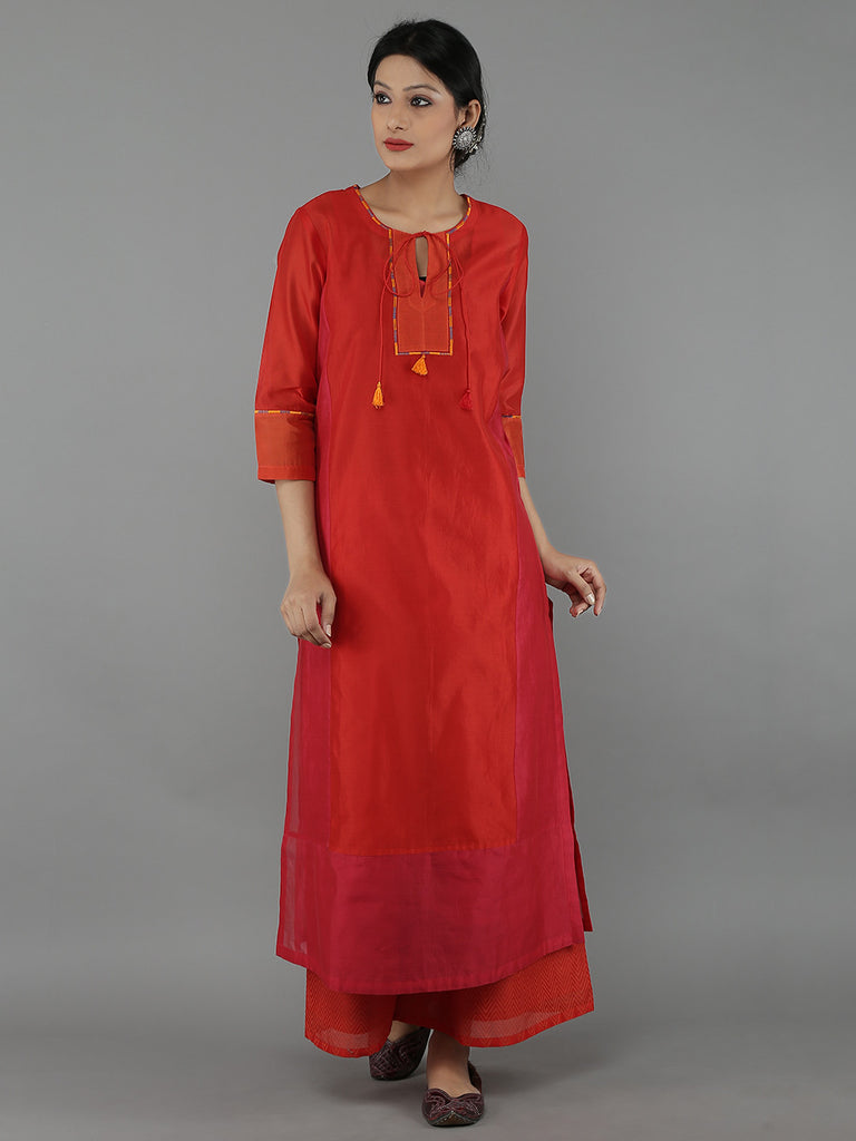 Red Chanderi Color Block Straight Kurta with Cotton Slip