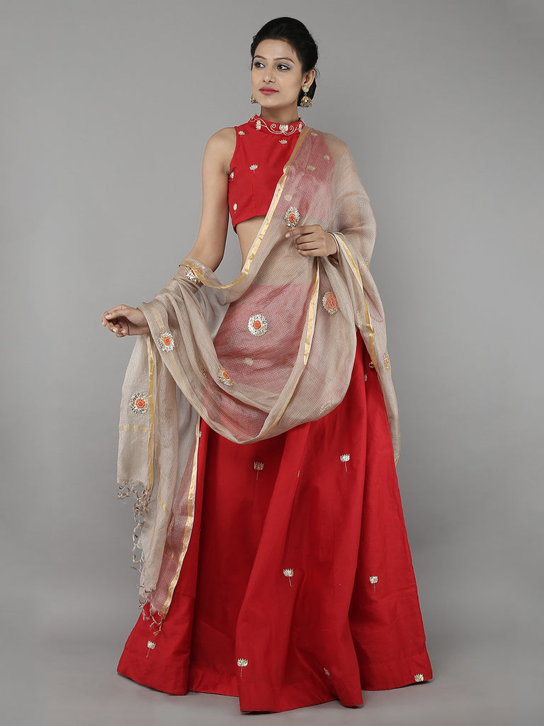 Red Chanderi Lehenga with Blouse and Golden Kota Silk Dupatta - Set of 3