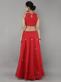 Red Chanderi Lehnga with Blouse and Golden Kota Silk Dupatta