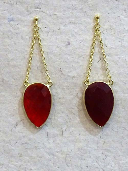 Red Drop Double Chain Stone Earring