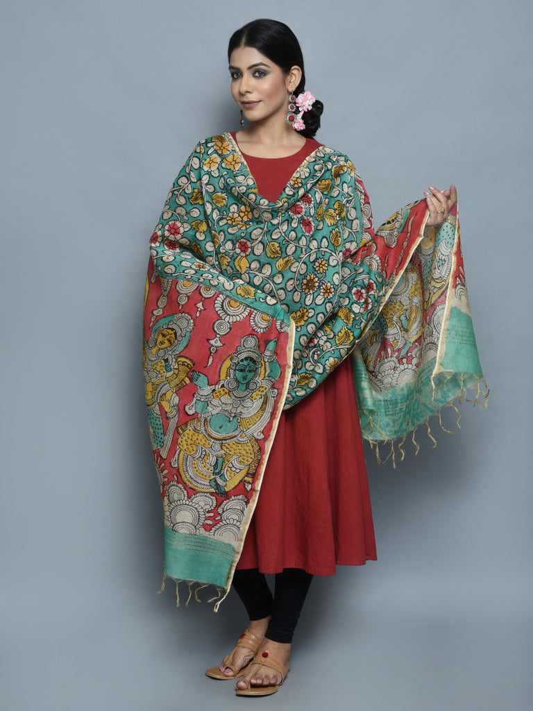 Red Green Radha Krishna Chanderi Hand Painted Kalamkari Dupatta