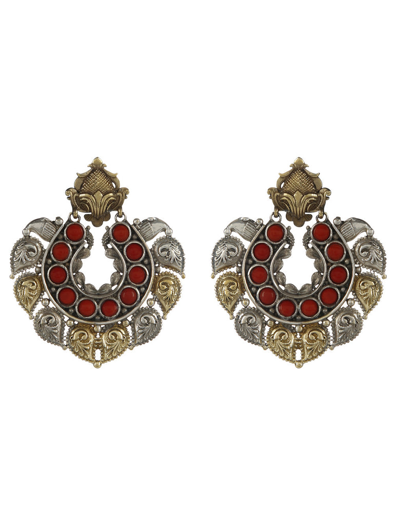 Red Stone Dual Plating Earrings