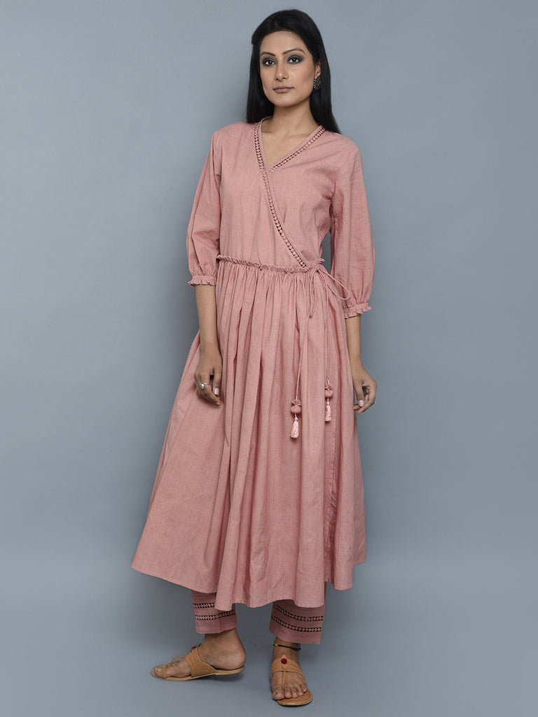 Rose Pink Mulmul Cotton Angrakha Kurta