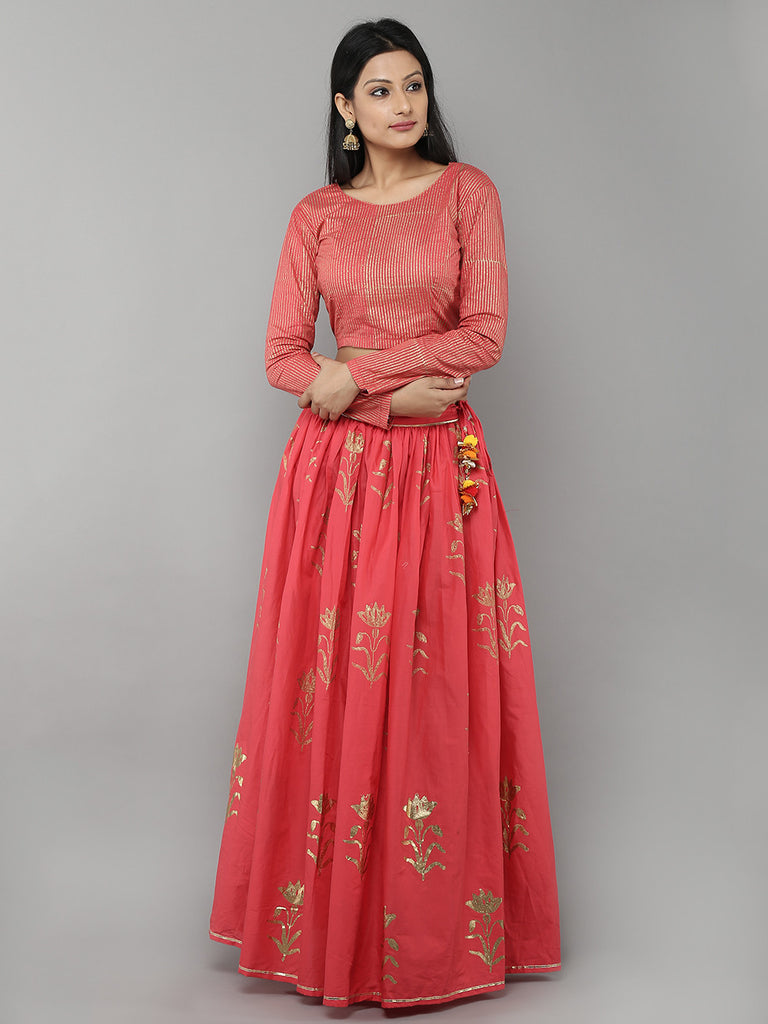 Rose Pink Cotton Floral Printed Lehenga with Pink Unstitched Blouse - Set of 2