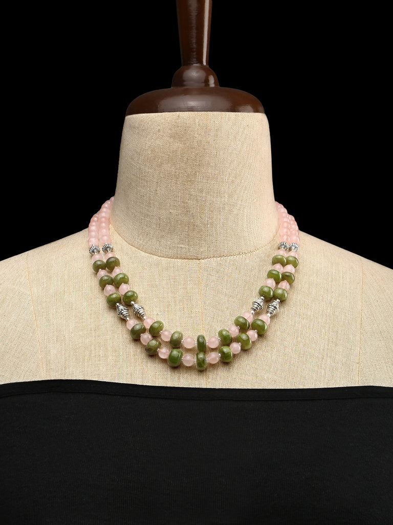 Rose Quartz and Green Garnets with GS Beads Double Strand Necklace