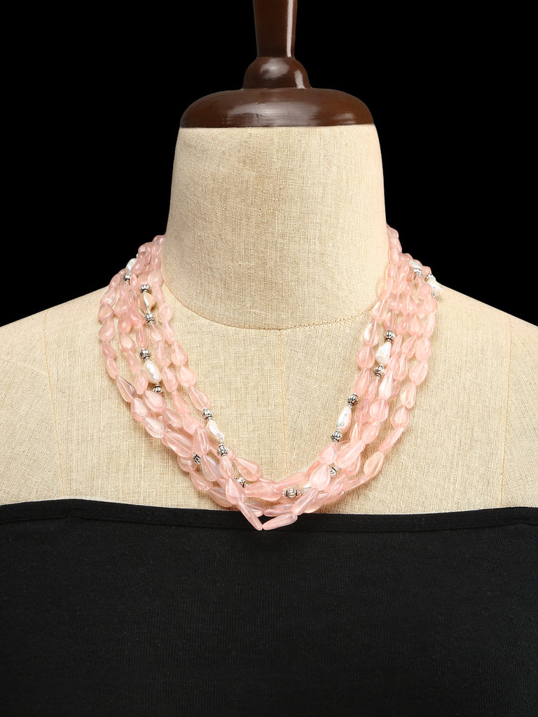 Rose Quartz and Assorted Baroque Pearls Necklace