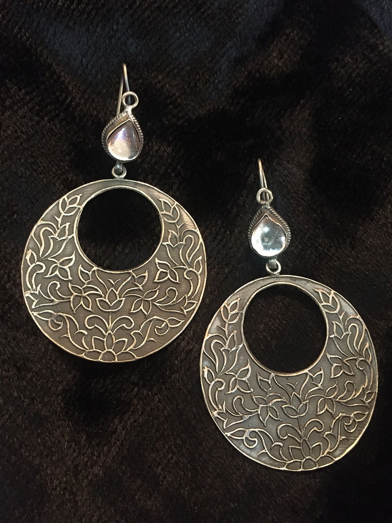 Round Kundan Silver Earrings
