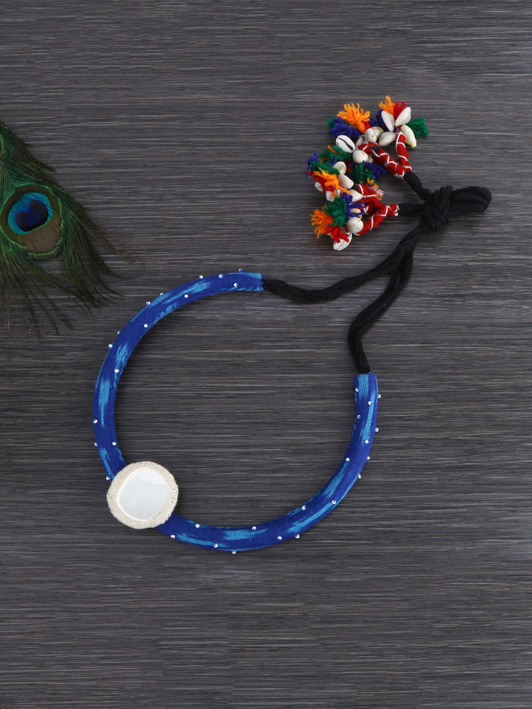 Royal Blue Bamboo Mirror Hand Crafted Necklace