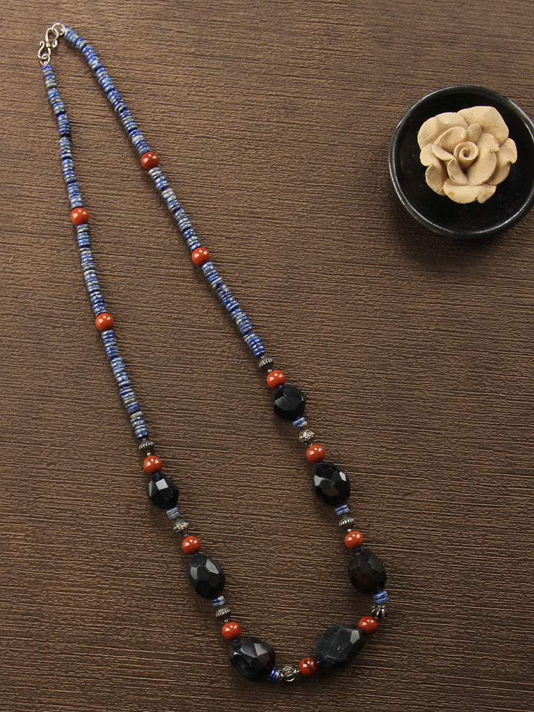 Royal Blue Black Lapis Lazuli, Black Aagate and Jasper String Necklace