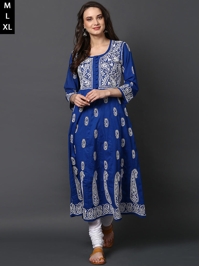Royal Blue Cotton Chikankari Anarkali Kurta
