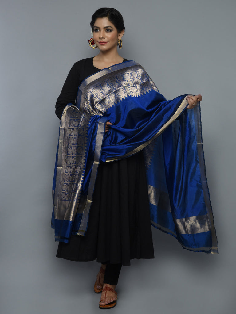 Royal Blue Handwoven Banarasi Dupatta