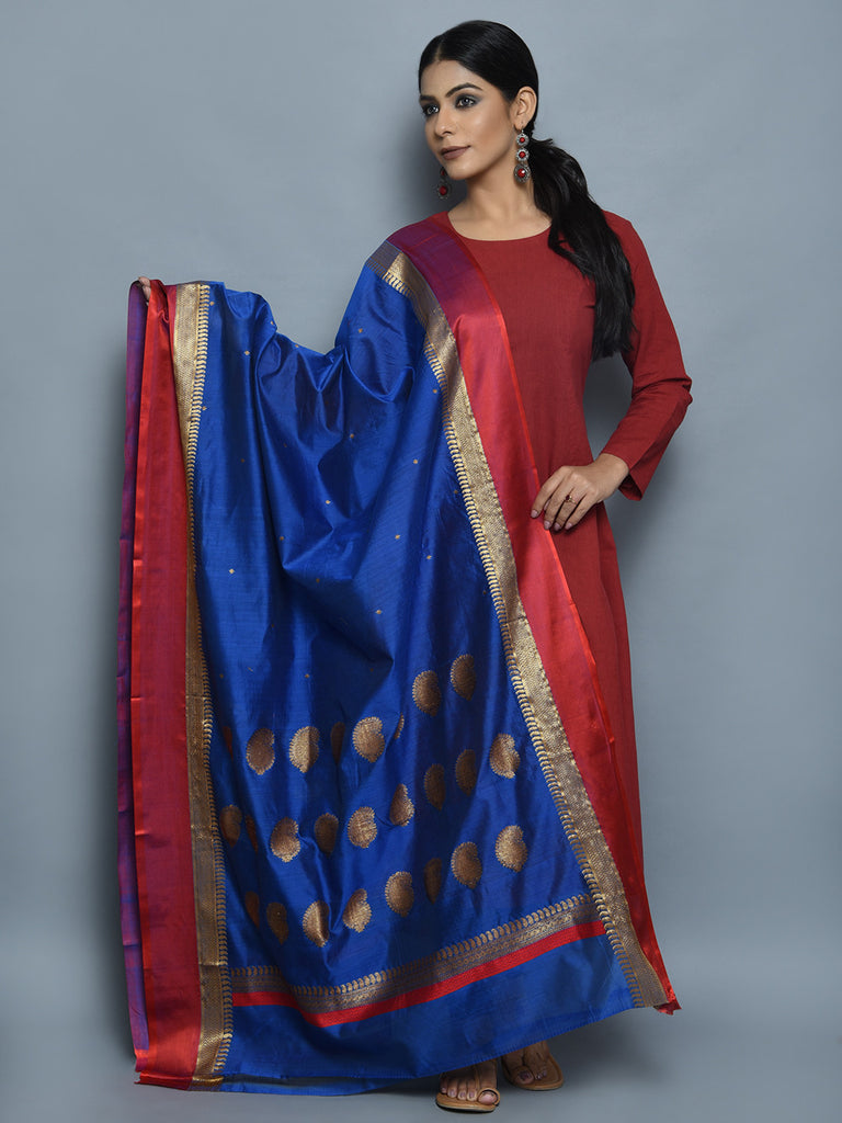 Royal Blue Maroon Kora Cotton Handwoven Banarasi Dupatta