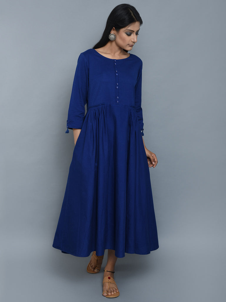 Royal Blue Pleated Khadi Dress