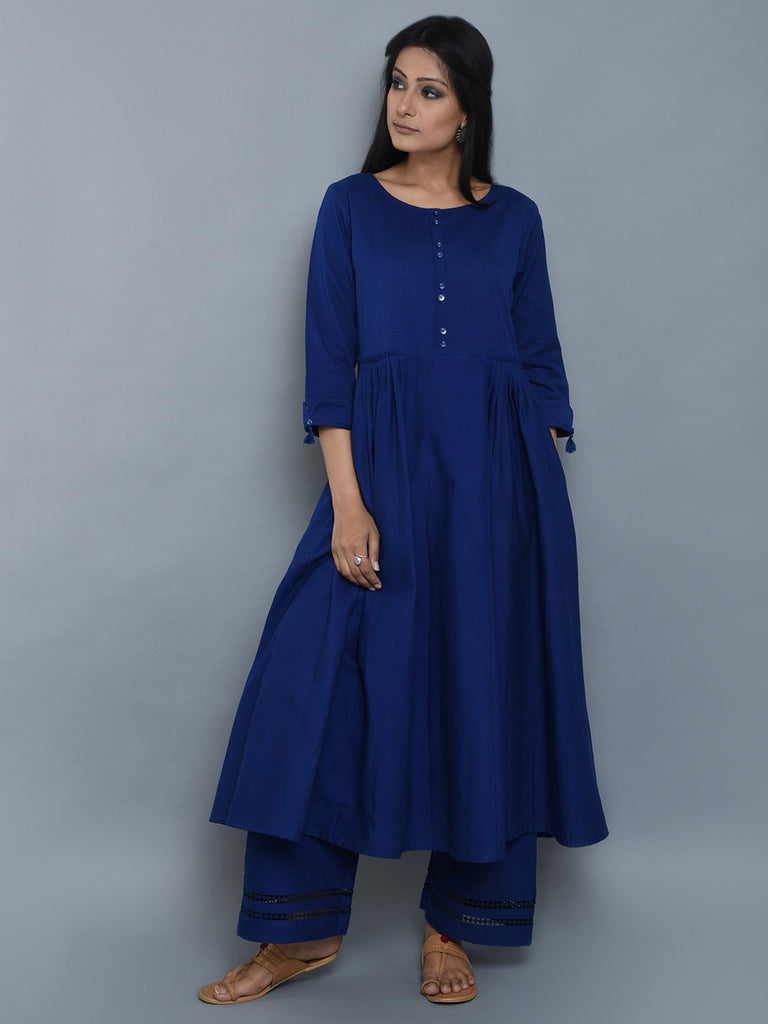 Royal Blue Pleated Khadi Kurta and Palazzo - Set of 2