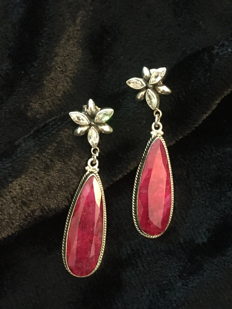 Ruby Flower Silver Drops