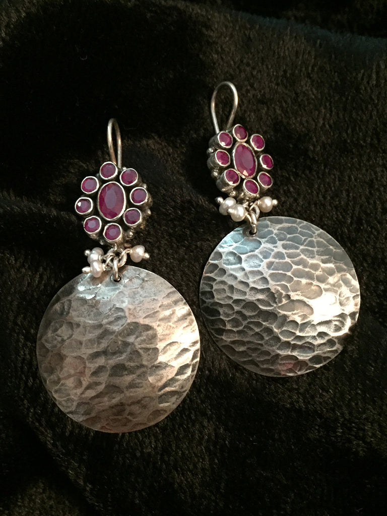 Ruby with Silver Round Earrings
